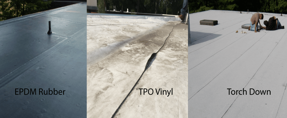 This image helps you to find out what type of flat roof membrane you have: EPDM, TPO Vinyl and MB Torch Down rubber roofs