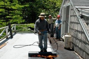 Installing Torch Down Rubber Membrane on Flat Roof - Pennsylvania