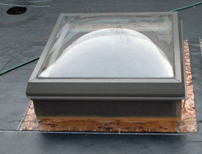Curb flashing of a skylight before the membrane is attached
