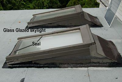 Skylights on flat roofs. Explaining why skylights leak.  Pittsburgh Stamford