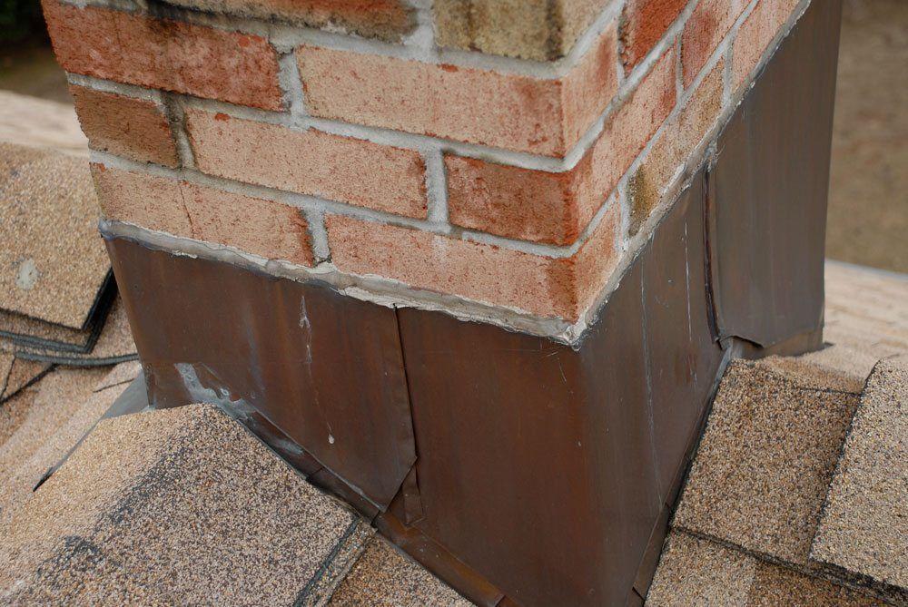 Copper flashing on chimneys