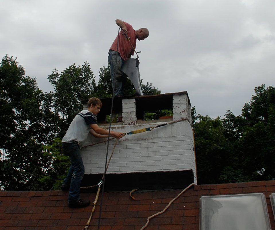 Covering the flagstone on a chimney