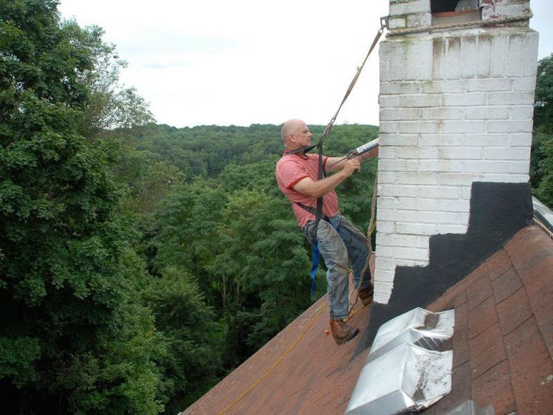 Sealing a chimney with a sealant that is cracked