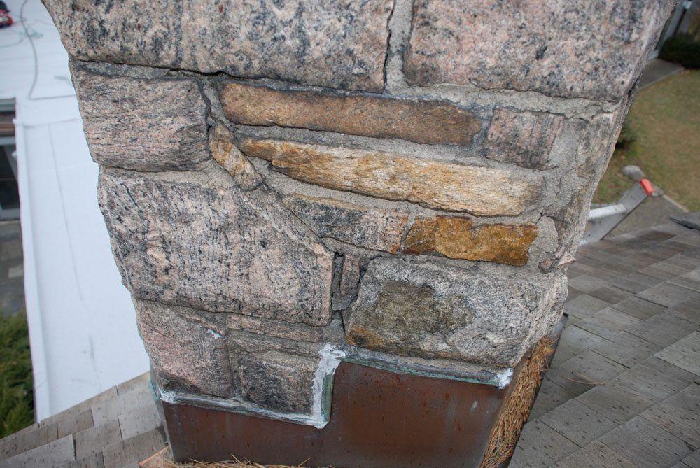 Fieldstone chimneys always have cracks in them