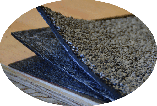 Torch Down Roofing for Commercial Rubber Roofs - 2 rubber membranes with a fiber base.