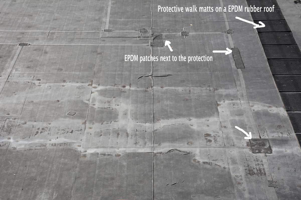 EPDM Rubber Roofing Materials are damaged by Ultraviolets creating patches all over the roof