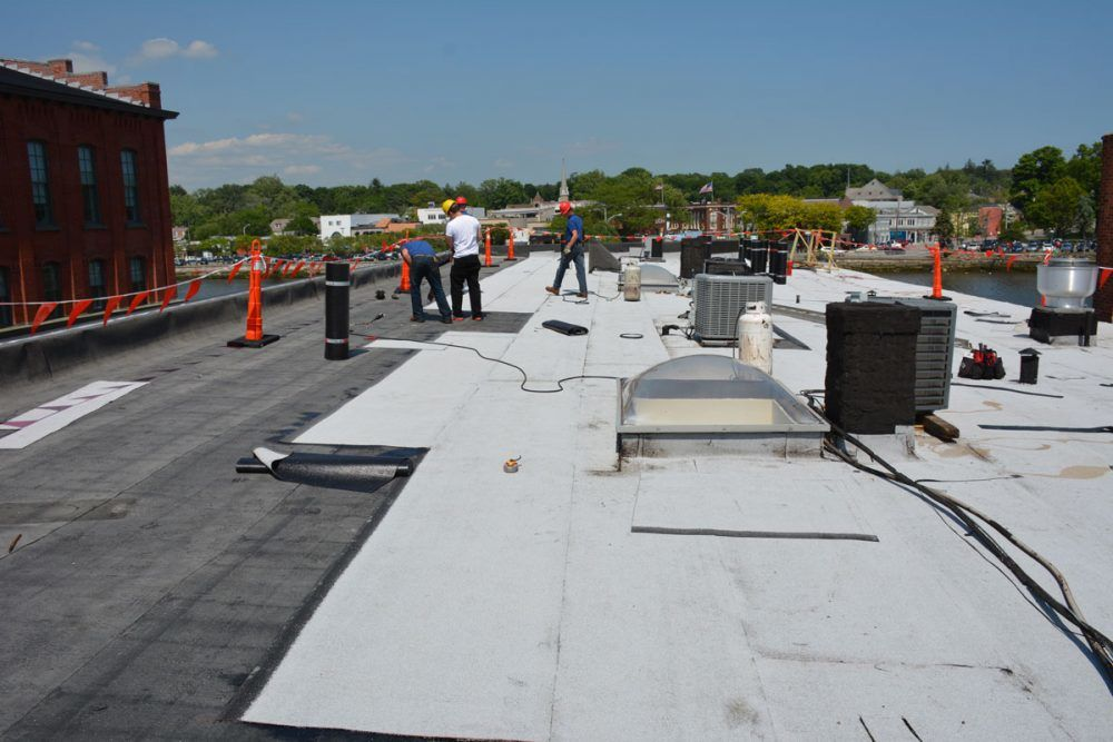 Modified Bitumen Torch Down Roofing Materials installed on a Commercial Roof
