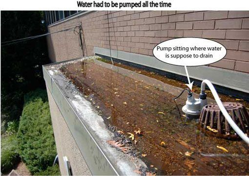 Flat roof repair - Scuppers on flat roofs - Someone installed a pump to drain the water from roof. After installing a roof we added scuppers