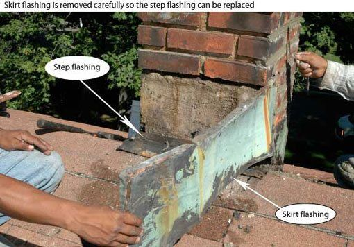 chimney repair - It is important that the flashing is well seated into the brick or stone. We serve all of Fairfield county.