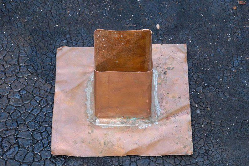 Copper flashing for post railing