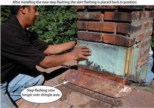 Flat Roof Skirt : How to repair or seal a leaky chimney