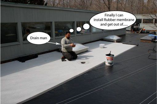 Step 12 - Installing Rubber Membrane - After all the flashing and base sheet is taken care of, it is time to install the rubber membrane. We used white granulated surfaced rubber material.