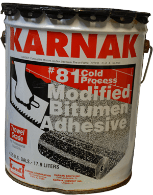 For repairing a Flat Roof - Karnak 81 Trowel Grade is the only Modified Bitumen Adhesive to use