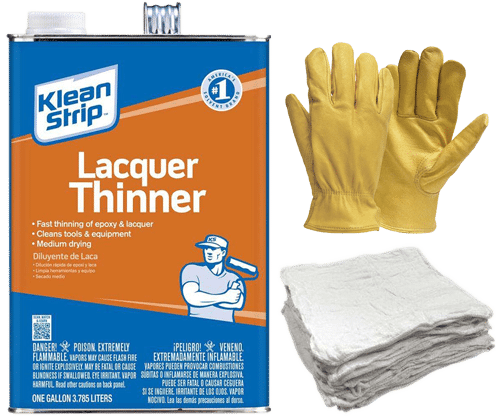 Lacquer Thinners, Rags, Gloves for repairing an EPDM Rubber Roof