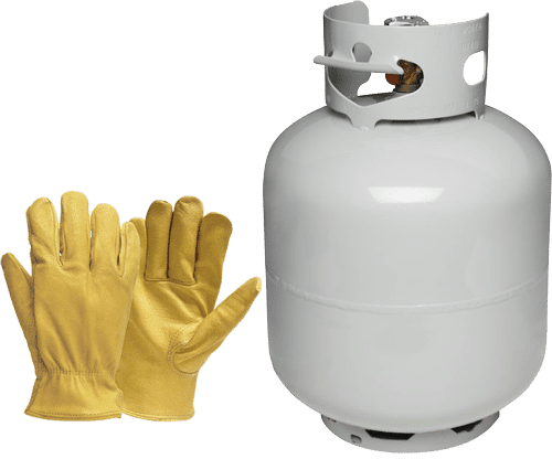 Propane Tank and gloves to make a repair on a Torch Down Rubber Membrane