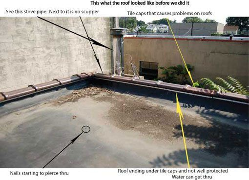 Commercial Rubber Flat Roof - It is far better to close the internal drains and install scuppers on a commercial roof if situation can permit so.
