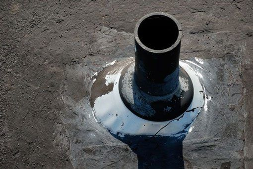 The rubber boot around a vent pipe can crack and leak water. Sometimes tar is used and gets hard over time and crack.