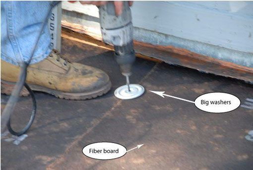To fasten the fiber board, special screws and washers are used. We have been installing rubber roofs over 25 years.