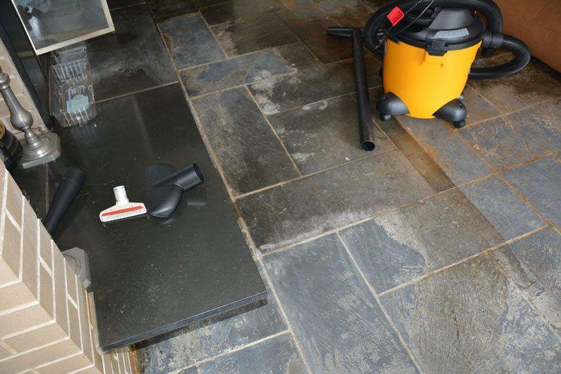 Slate floor damaged
