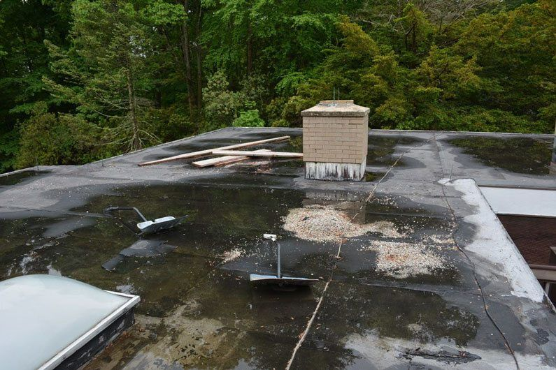 Water found under the roofing membrane