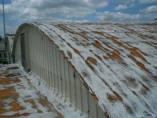 Often you will see a roof like this that has been coated but the coating did not last.