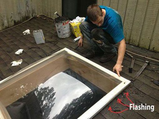 Skylight Repair - The best way to stop a leak on a skylight is to clean the flashing.