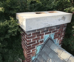Chimney Repairs on Flat roofs - Flashing, cracks in the brickwork and the crown can cause a leaky flat roof