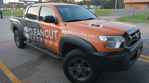 Clean Cut Roofing Truck for the salesman in Tyler, Texas
