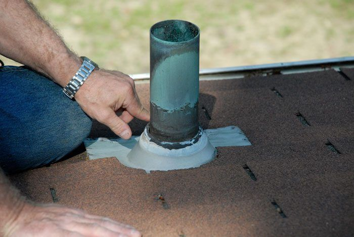 Flat Roof repair vent Boot -CT, PA, TX. CA, Vent pipe on flat roof repair - Greenwich CT and Latrobe PA