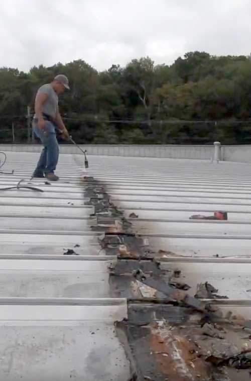 metal Roof Seam Repair on a leaky roof