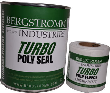 Turbo Poly Seal and Fleece. This is a polyurethaned mixed with bitumouse resin based product use to seal flashing and make roof repairs