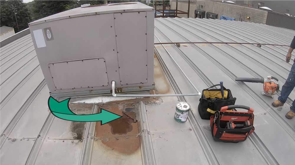 Turbo Poly Seal Metal Roof- Rusted surface and hole in panel