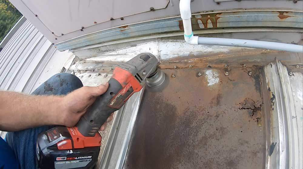 Turbo Poly Seal Metal Roof - clean the surface with a grinder and steel brush attached
