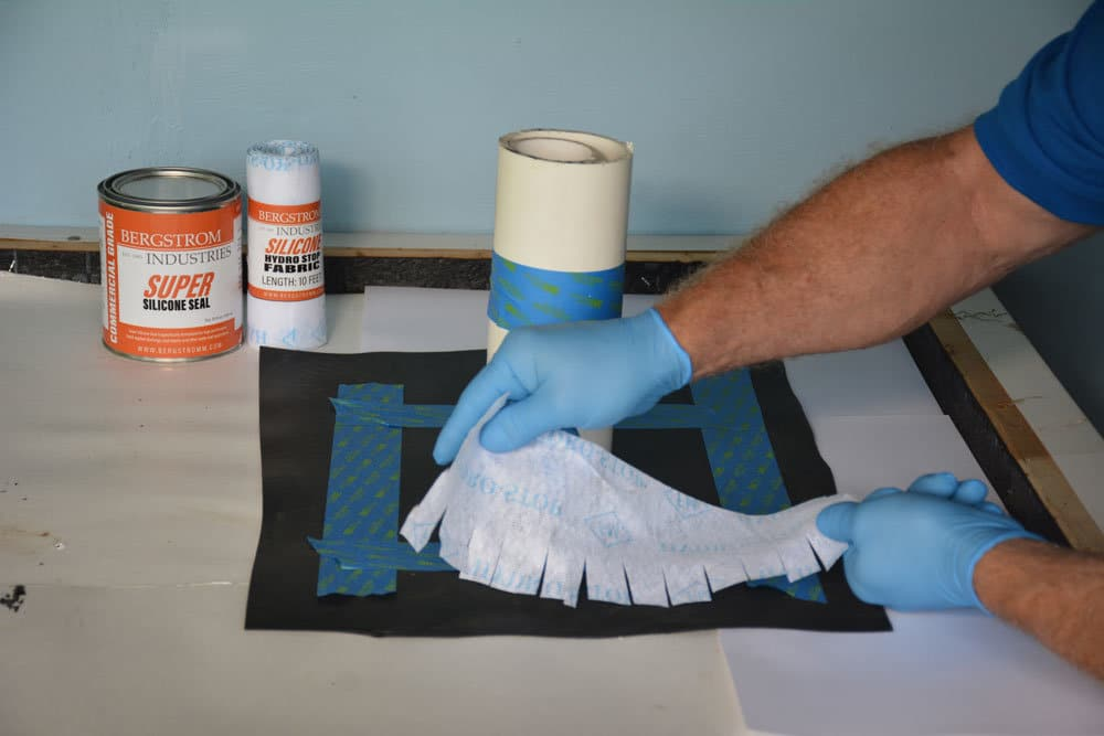 Super Silicone Seal being used to make vent pipe flashing